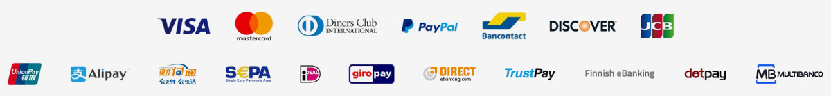 Servired, Maestro, Visa, Mastercard, Paypal...